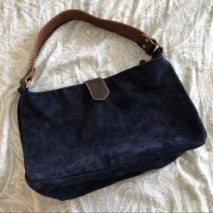 Tylie Malibu Navy Suede Crystal Strap Handbag